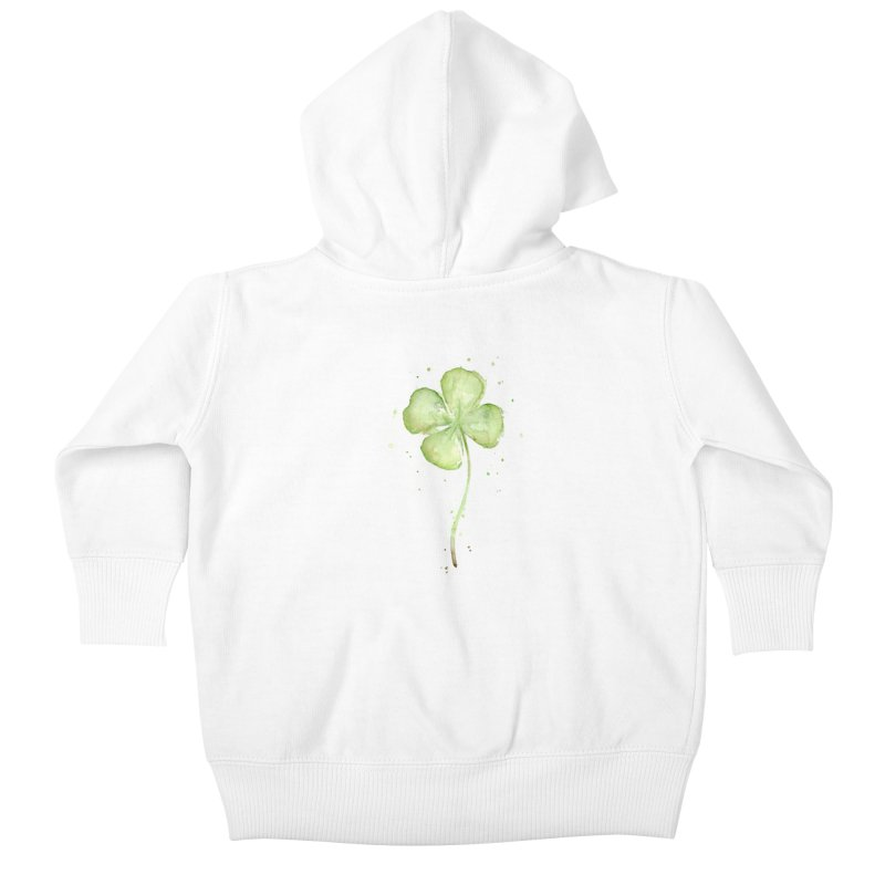 Lucky Charm - Four Leaf Clover Kids Baby Zip-Up Hoody by Art by Olga Shvartsur