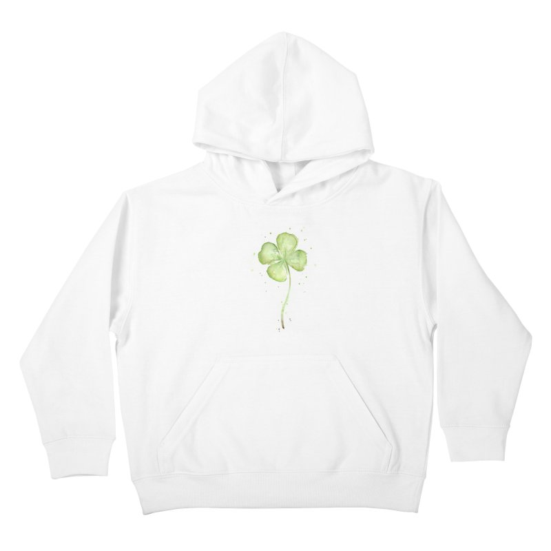 Lucky Charm - Four Leaf Clover Kids Pullover Hoody by Art by Olga Shvartsur