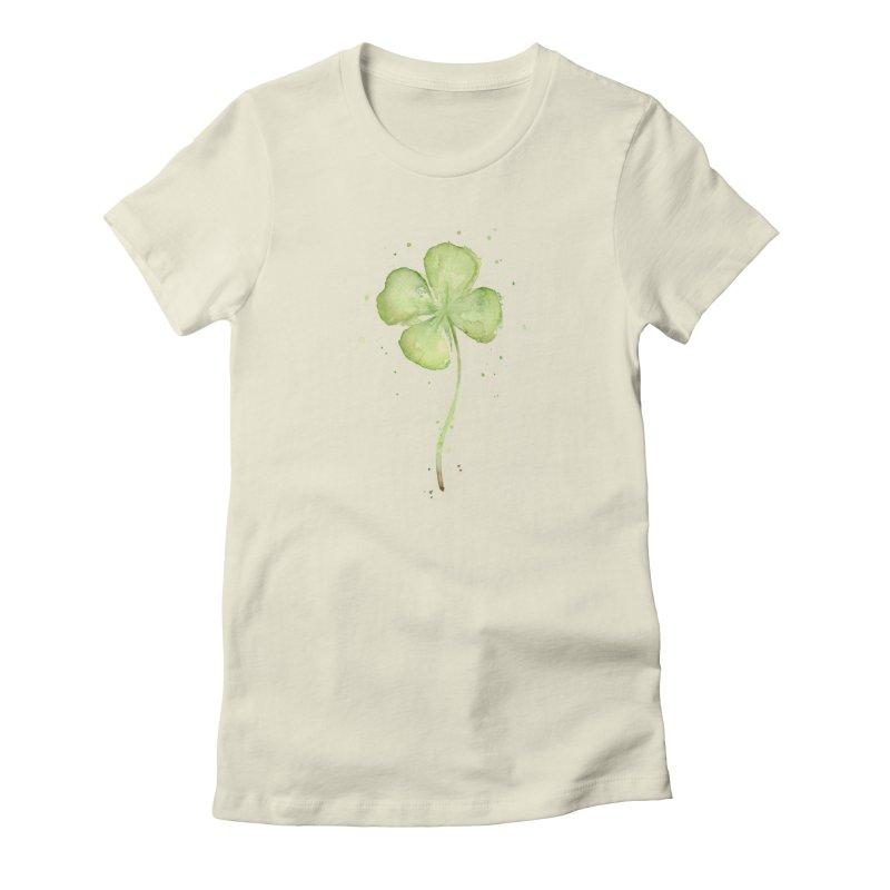 Lucky Charm - Four Leaf Clover Women's T-Shirt by Art by Olga Shvartsur
