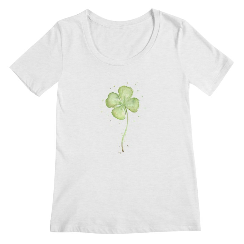 Lucky Charm - Four Leaf Clover Women's Scoopneck by Art by Olga Shvartsur