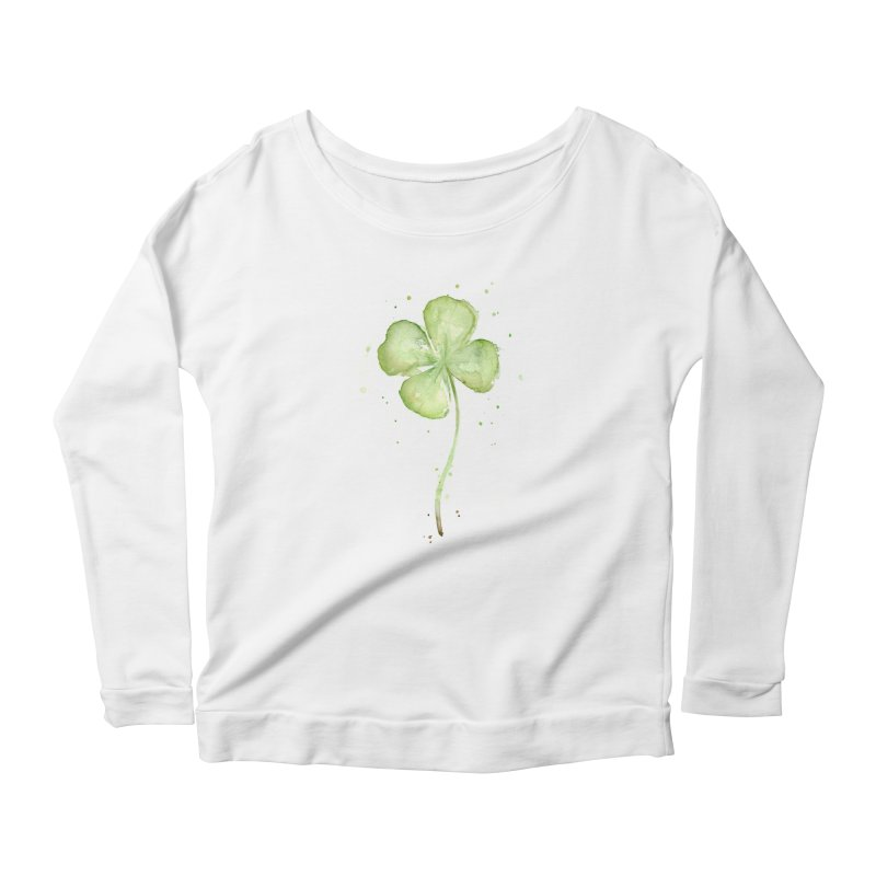 Lucky Charm - Four Leaf Clover Women's Scoop Neck Longsleeve T-Shirt by Art by Olga Shvartsur