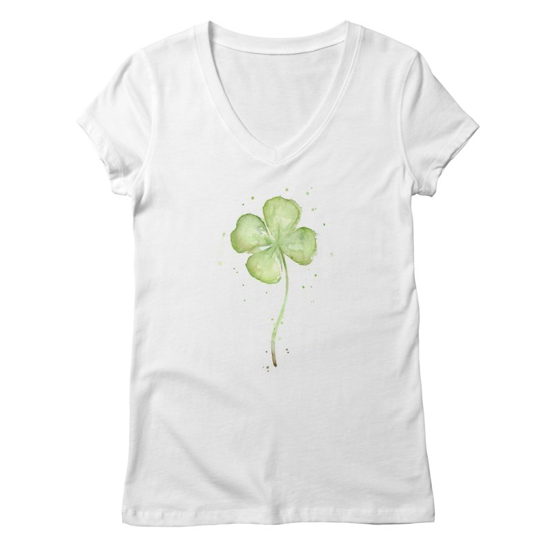 Lucky Charm - Four Leaf Clover Women's Regular V-Neck by Art by Olga Shvartsur