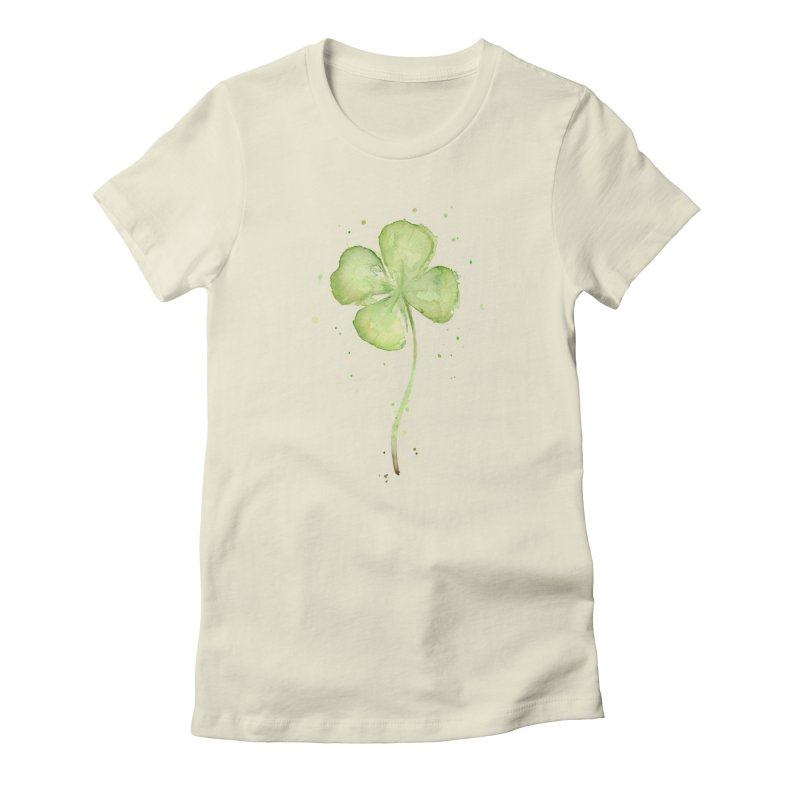 Lucky Charm - Four Leaf Clover Women's Fitted T-Shirt by Art by Olga Shvartsur