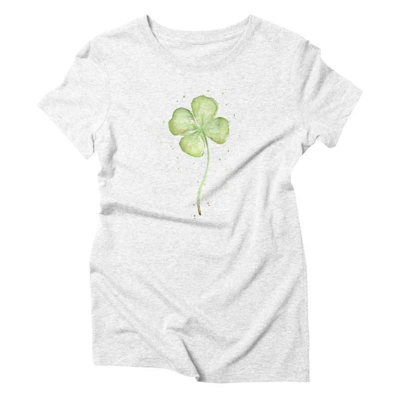 Lucky Charm - Four Leaf Clover Women's Triblend T-shirt by Art by Olga Shvartsur