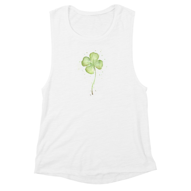 Lucky Charm - Four Leaf Clover Women's Muscle Tank by Art by Olga Shvartsur