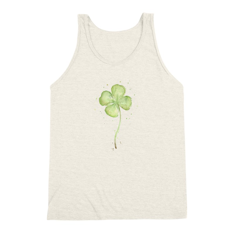 Lucky Charm - Four Leaf Clover Men's Triblend Tank by Art by Olga Shvartsur