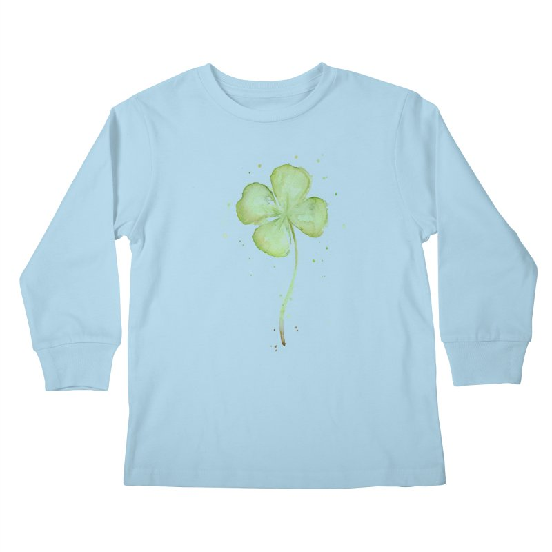 Lucky Charm - Four Leaf Clover Kids Longsleeve T-Shirt by Art by Olga Shvartsur
