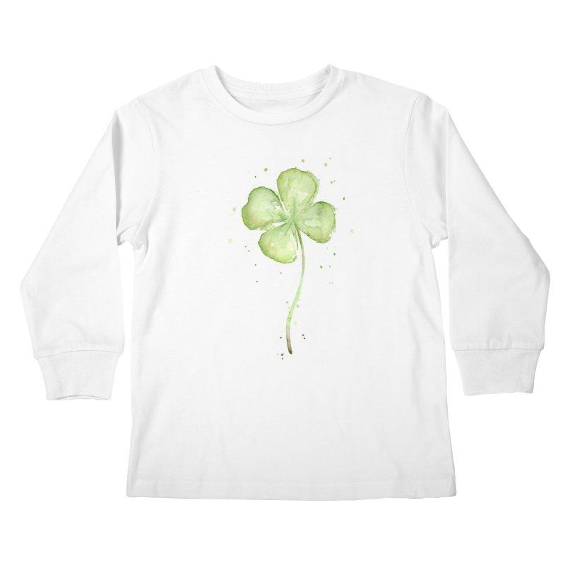 Lucky Charm - Four Leaf Clover Kids Longsleeve T-Shirt by Art by Olga Shvartsur