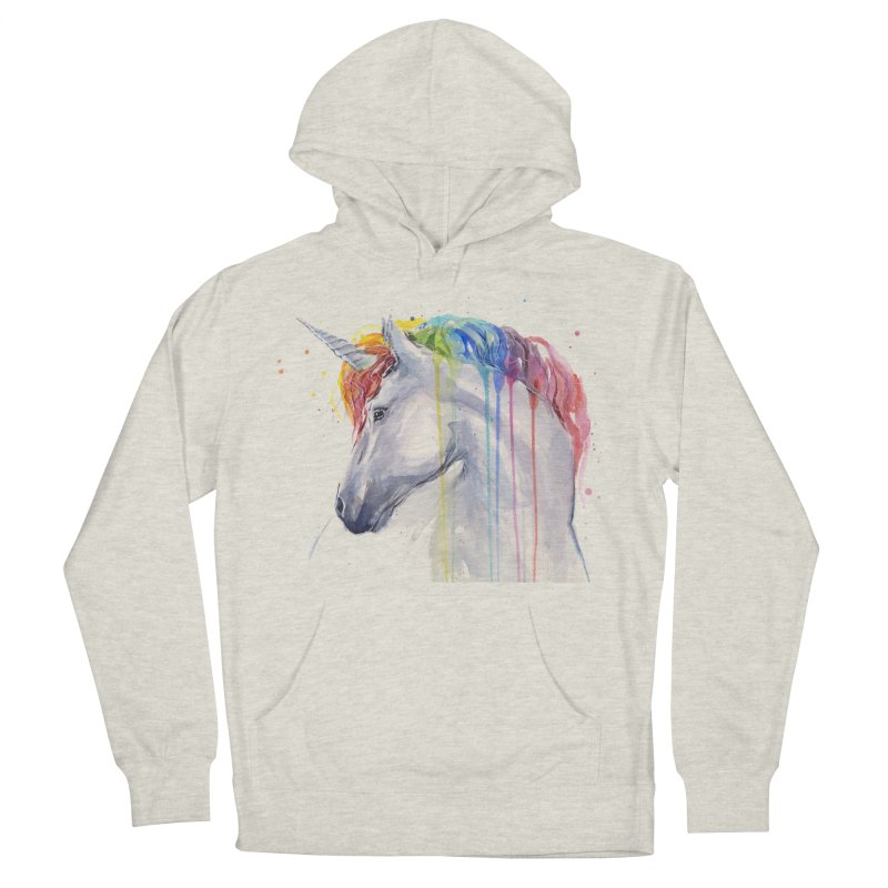 Rainbow Unicorn Men's French Terry Pullover Hoody by Art by Olga Shvartsur