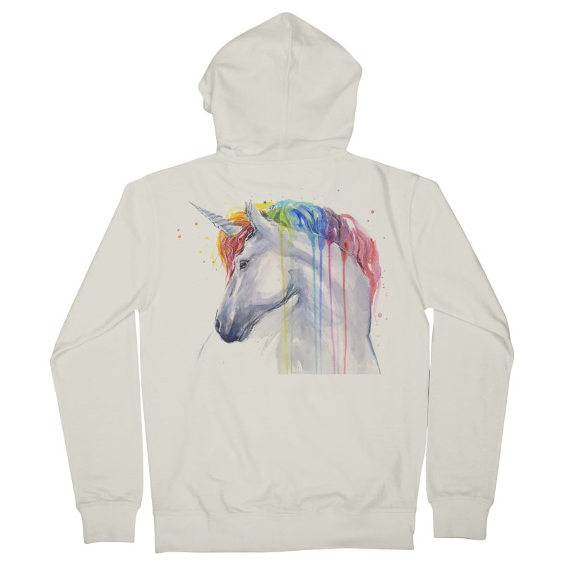 Rainbow Unicorn Men's French Terry Zip-Up Hoody by Art by Olga Shvartsur