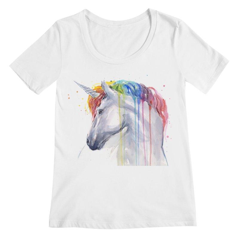 Rainbow Unicorn Women's Regular Scoop Neck by Art by Olga Shvartsur