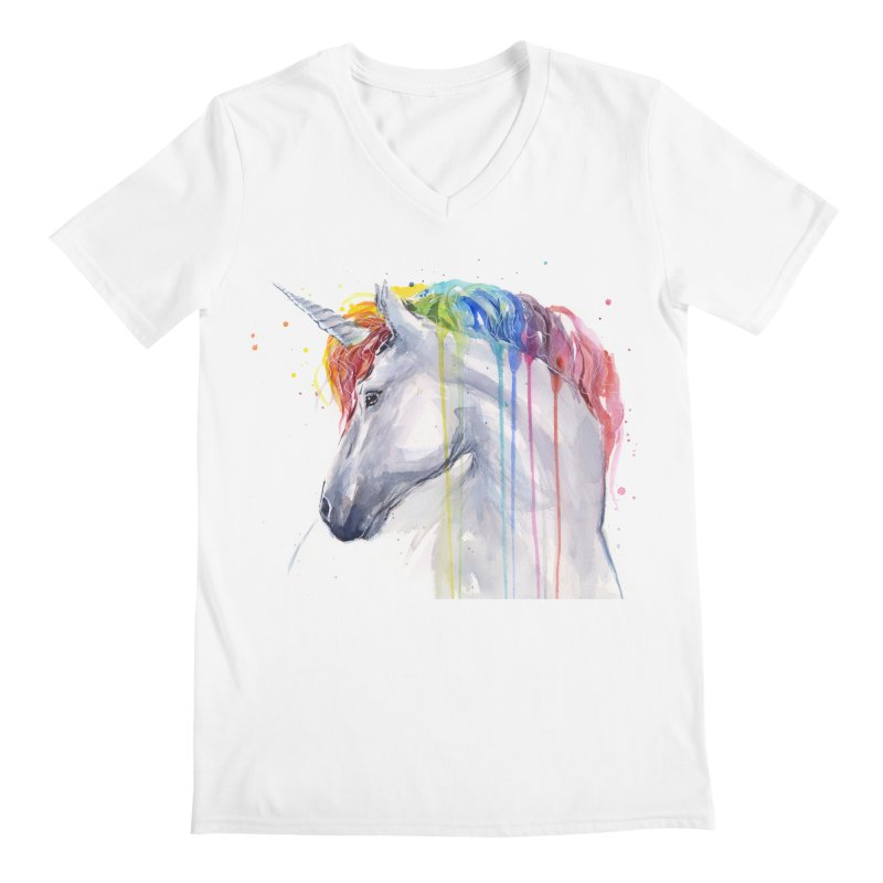 Rainbow Unicorn Men's Regular V-Neck by Art by Olga Shvartsur