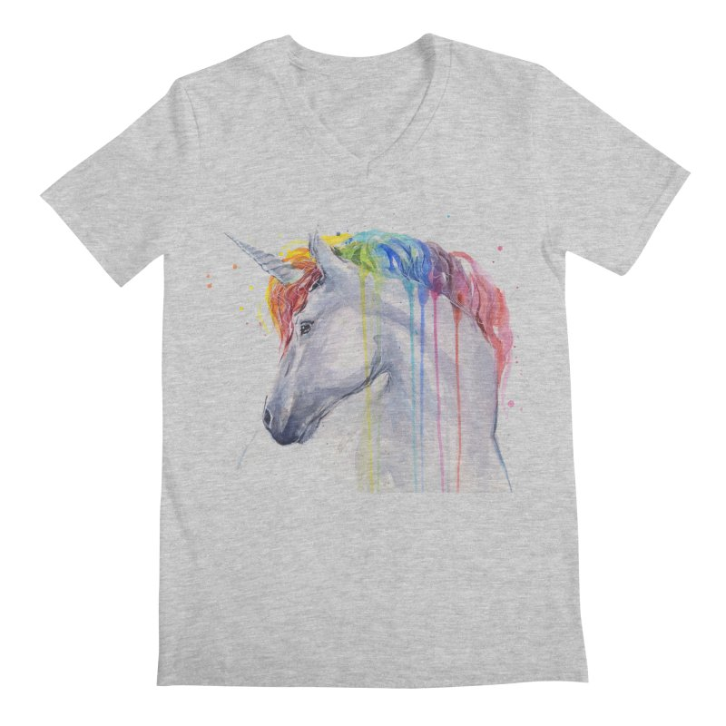 Rainbow Unicorn Men's V-Neck by Art by Olga Shvartsur