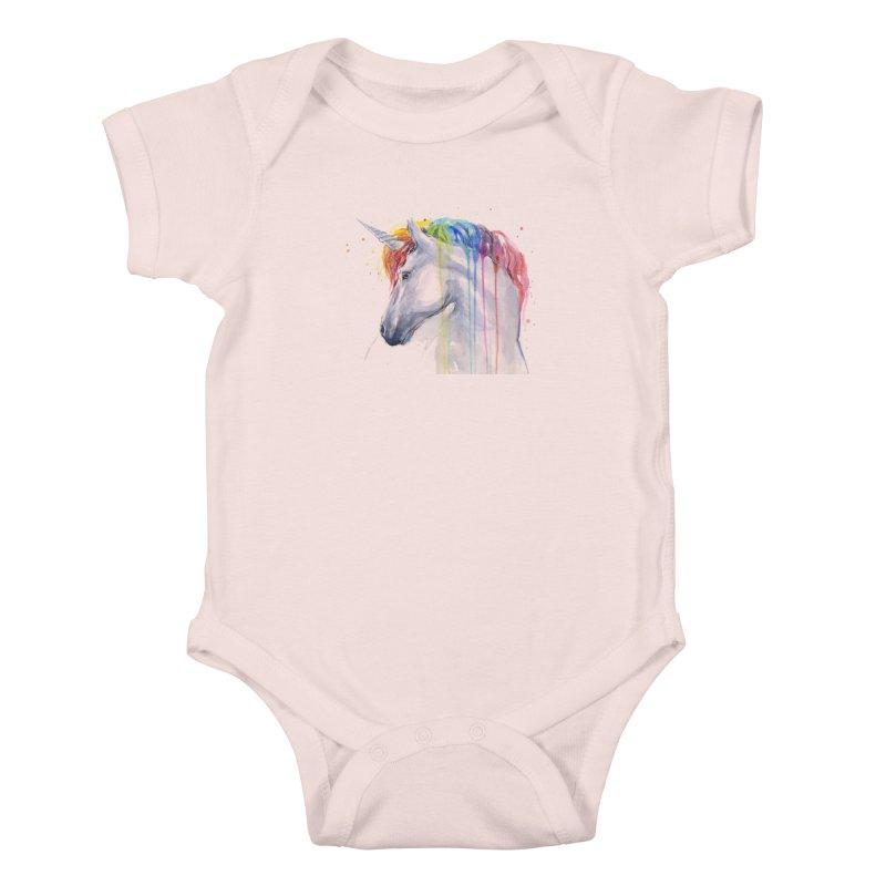 Rainbow Unicorn Kids Baby Bodysuit by Art by Olga Shvartsur