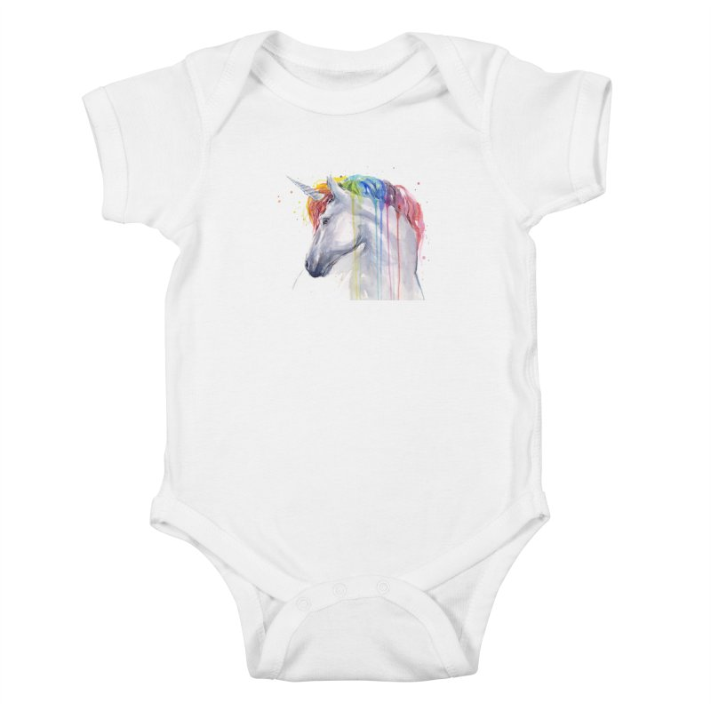 Rainbow Unicorn Kids Baby Bodysuit by Art by Olga Shvartsur
