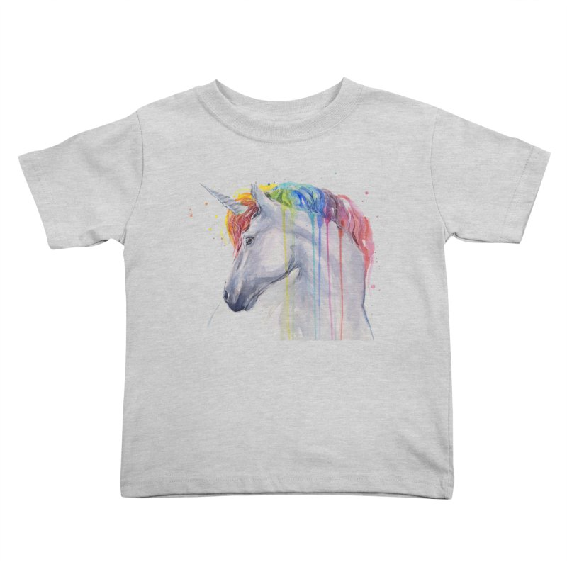 Rainbow Unicorn Kids Toddler T-Shirt by Art by Olga Shvartsur