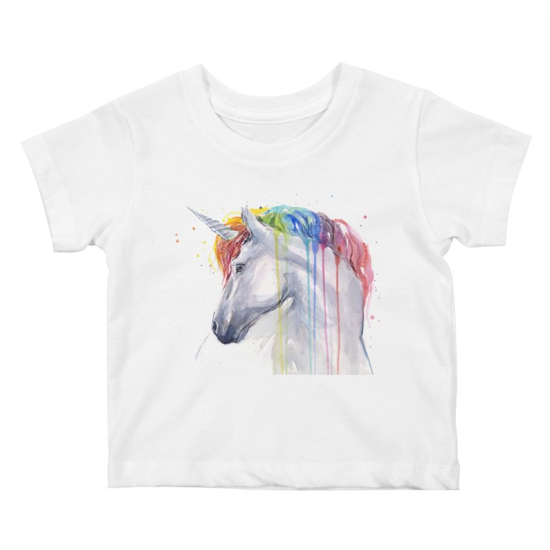 Rainbow Unicorn Kids Baby T-Shirt by Art by Olga Shvartsur