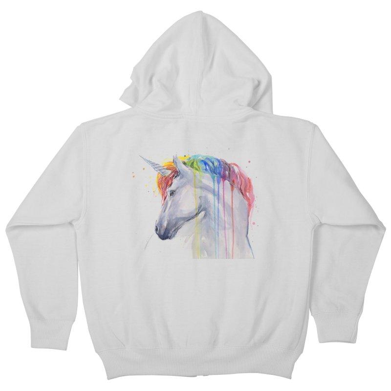 Rainbow Unicorn Kids Zip-Up Hoody by Art by Olga Shvartsur