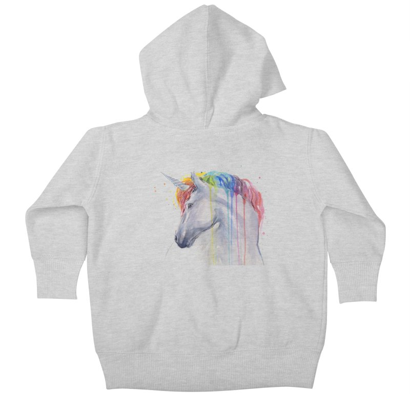 Rainbow Unicorn Kids Baby Zip-Up Hoody by Art by Olga Shvartsur