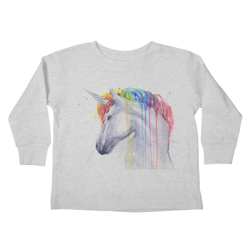 Rainbow Unicorn Kids Toddler Longsleeve T-Shirt by Art by Olga Shvartsur