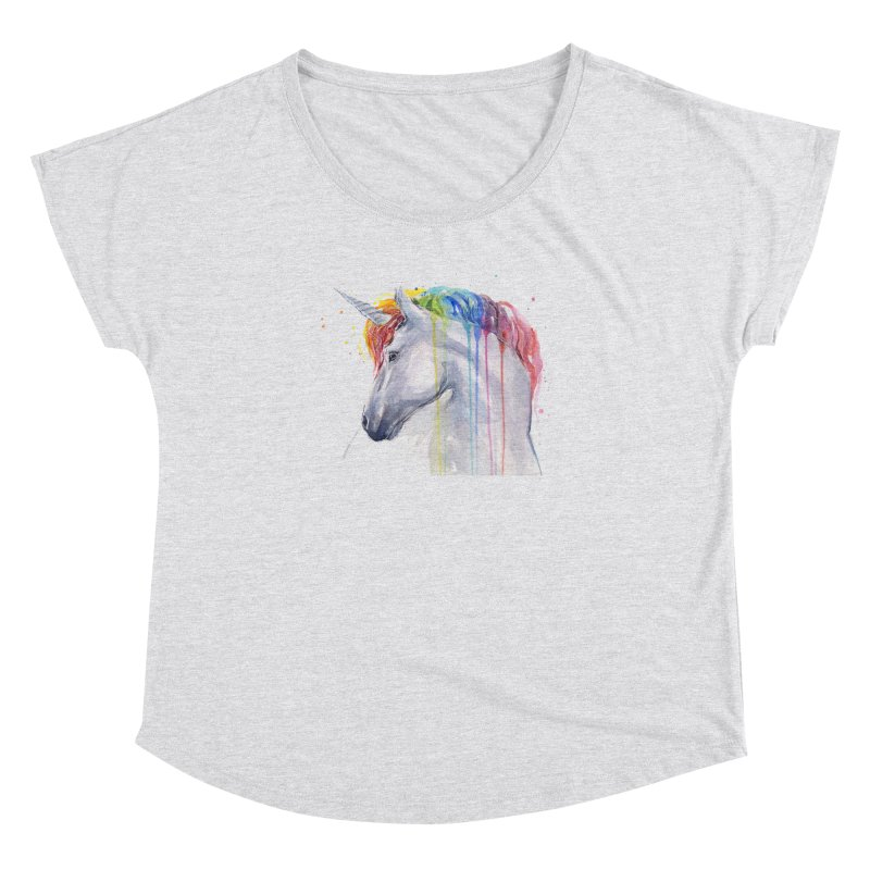Rainbow Unicorn Women's Dolman Scoop Neck by Art by Olga Shvartsur