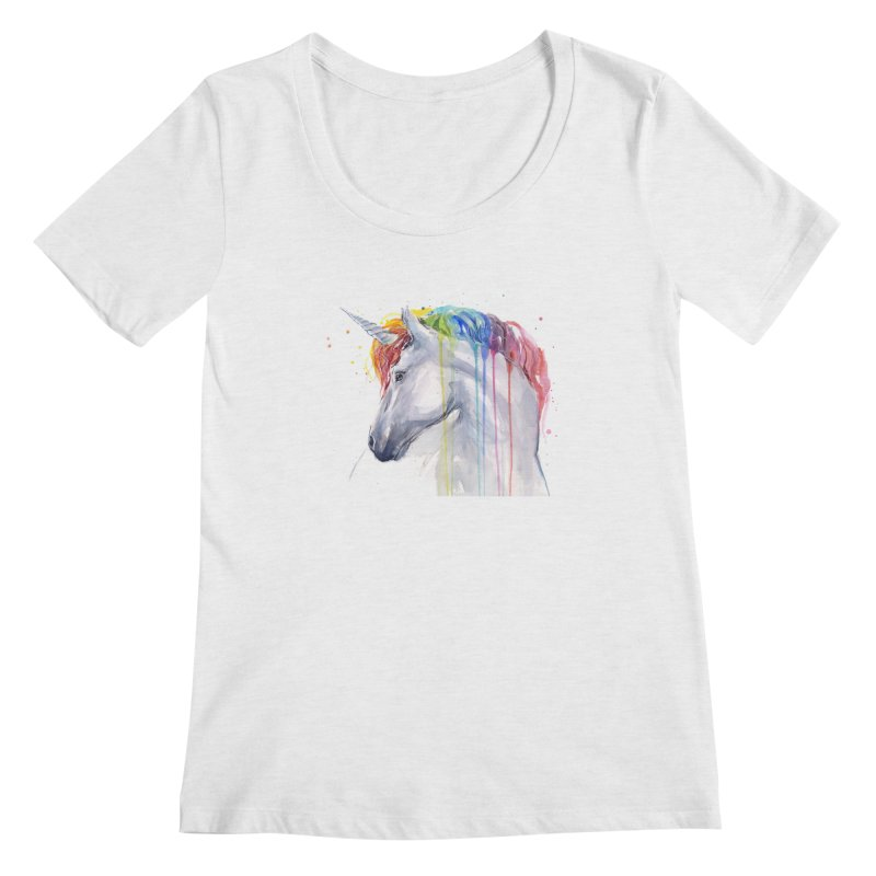 Rainbow Unicorn Women's Regular Scoop Neck by Art by Olga Shvartsur