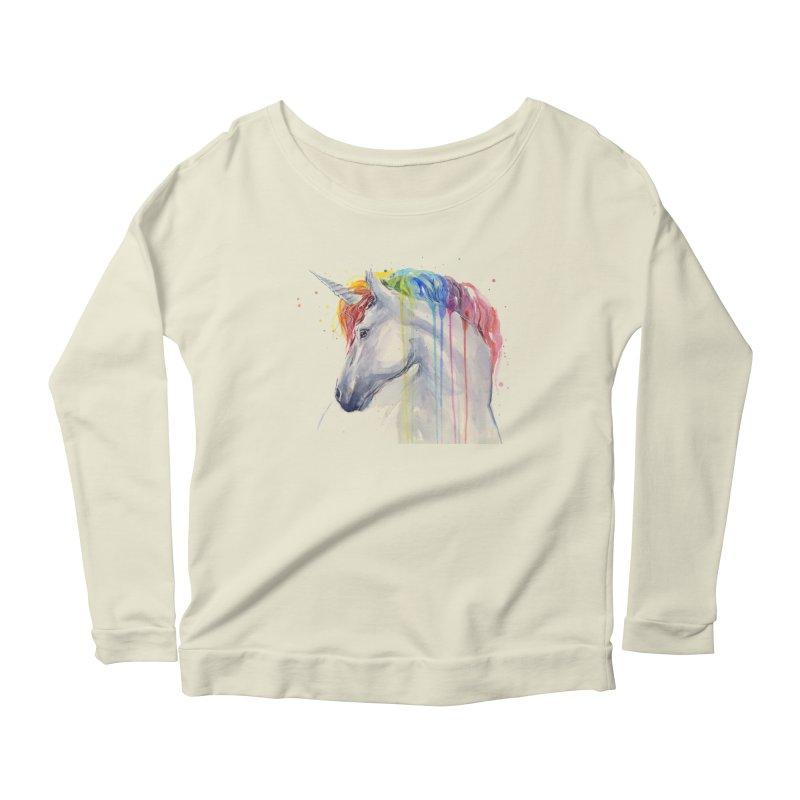 Rainbow Unicorn Women's Longsleeve Scoopneck  by Art by Olga Shvartsur
