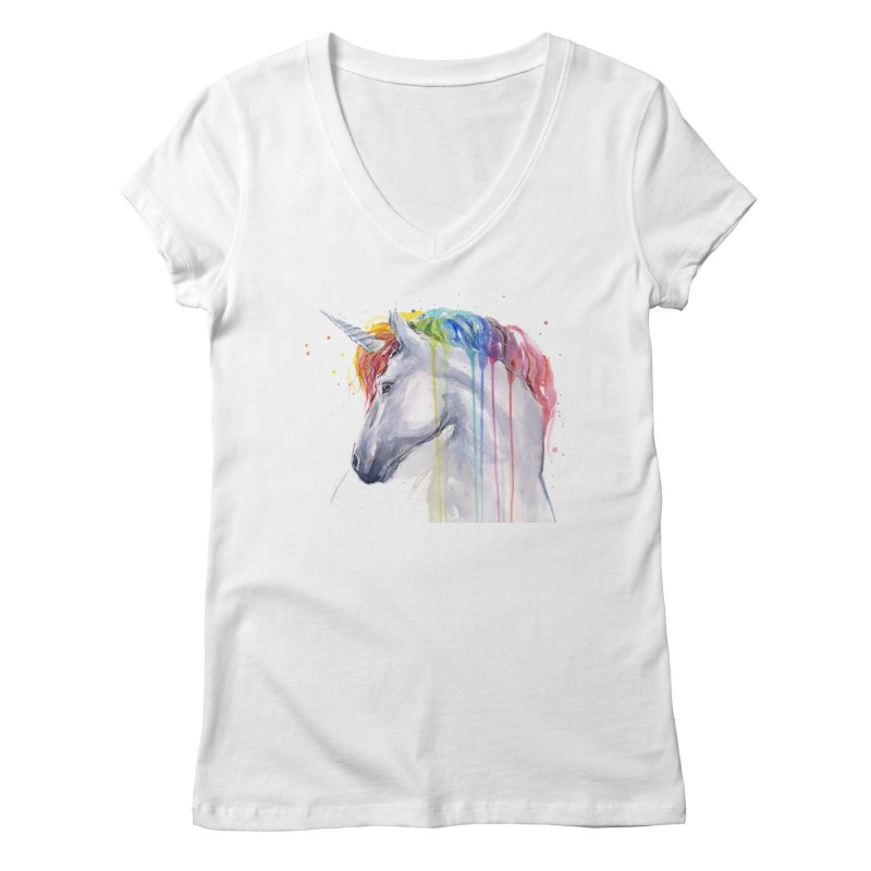 Rainbow Unicorn Women's Regular V-Neck by Art by Olga Shvartsur