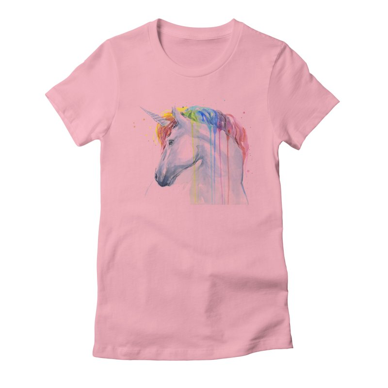 Rainbow Unicorn Women's Fitted T-Shirt by Art by Olga Shvartsur