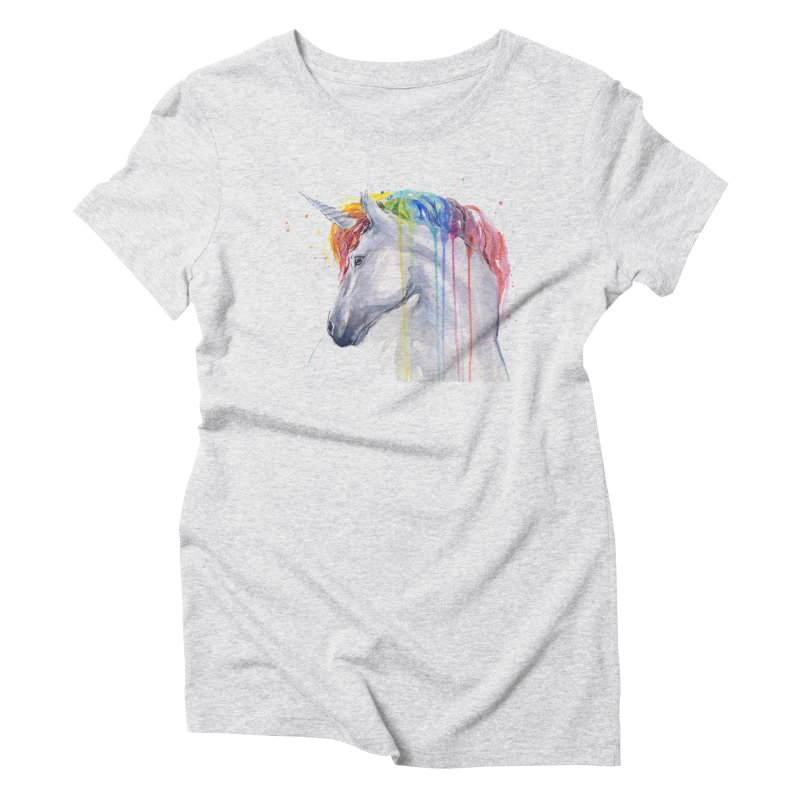 Rainbow Unicorn Women's Triblend T-Shirt by Art by Olga Shvartsur