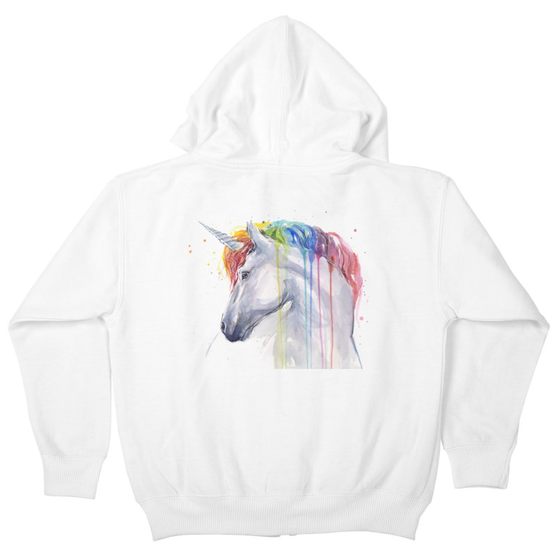 Rainbow Unicorn Kids Zip-Up Hoody by Art by Olga Shvartsur