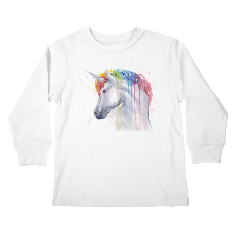 Rainbow Unicorn Kids Longsleeve T-Shirt by Art by Olga Shvartsur