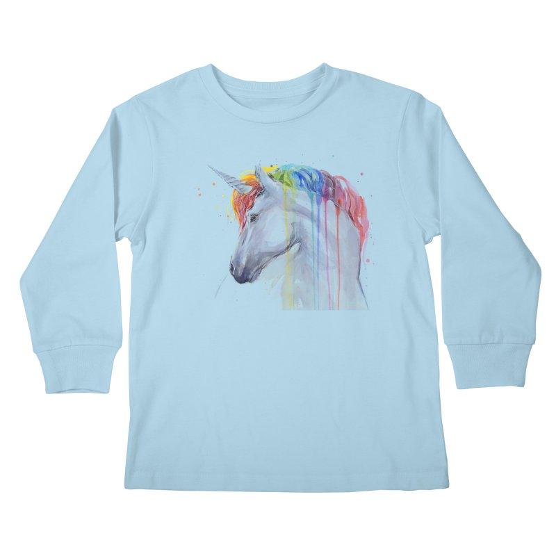 Rainbow Unicorn Kids Longsleeve T-Shirt by Art by Olga Shvartsur