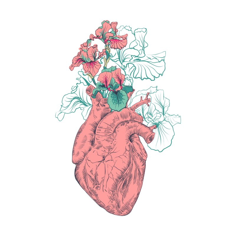 d63327695 Human heart with flowers Men's T-Shirt by OlgaBerlet's Artist Shop
