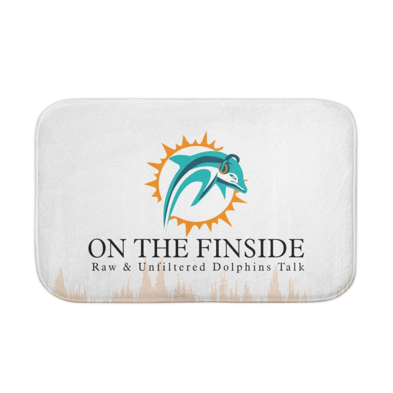"""White Logo - Equalizer """"Fire"""" Home Bath Mat by On The Fin Side's Artist Shop"""