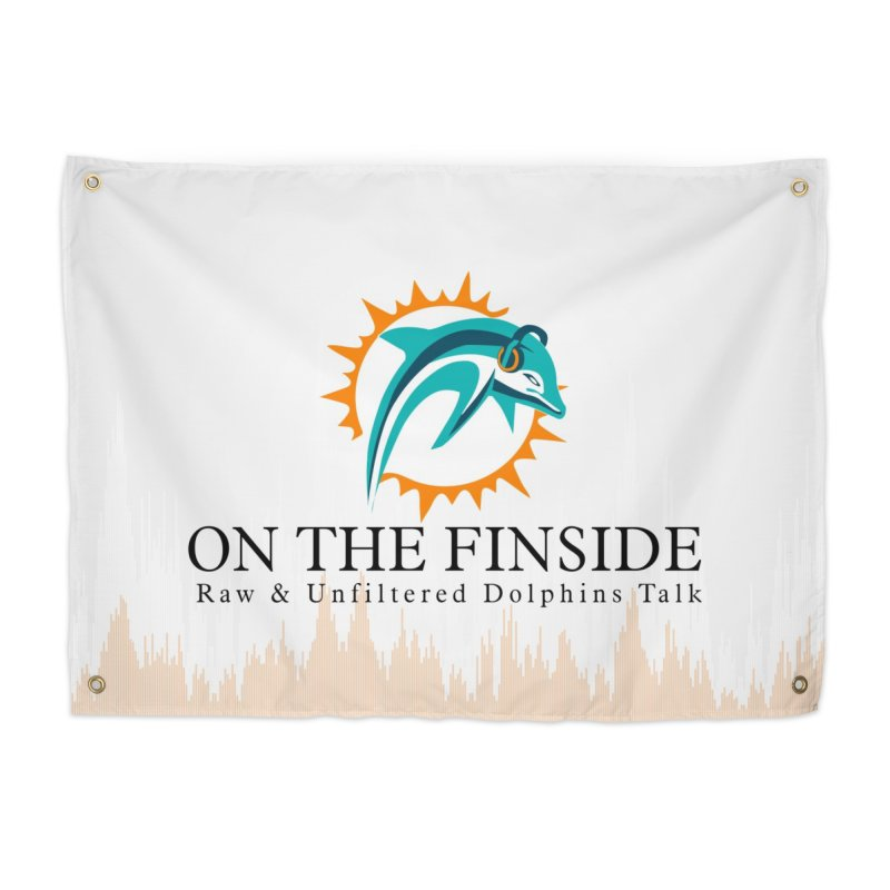 "White Logo - Equalizer ""Fire"" Home Tapestry by On The Fin Side's Artist Shop"