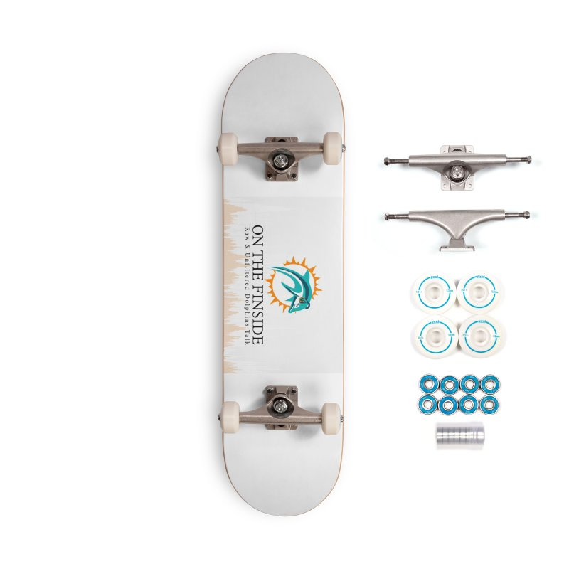 "White Logo - Equalizer ""Fire"" Accessories Complete - Basic Skateboard by On The Fin Side's Artist Shop"