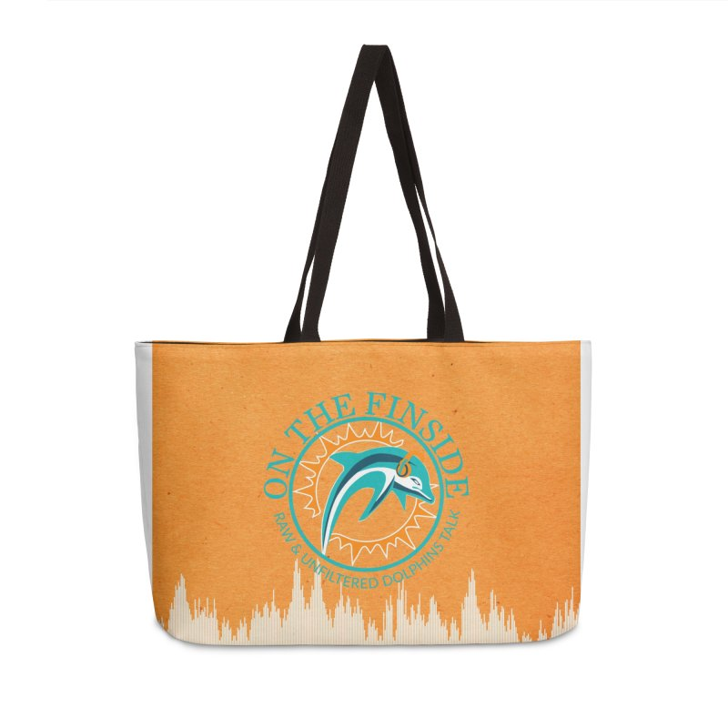 Teal Bullet, Orange Bowl Accessories Weekender Bag Bag by On The Fin Side's Artist Shop
