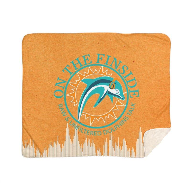 Teal Bullet, Orange Bowl Home Sherpa Blanket Blanket by On The Fin Side's Artist Shop
