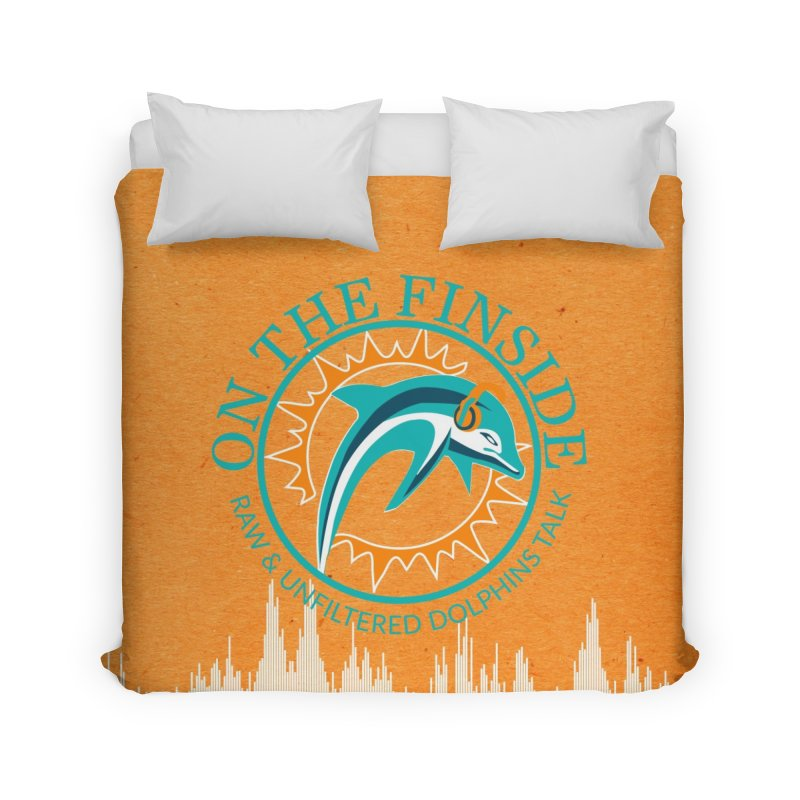 Teal Bullet, Orange Bowl Home Duvet by OnTheFinSide's Artist Shop