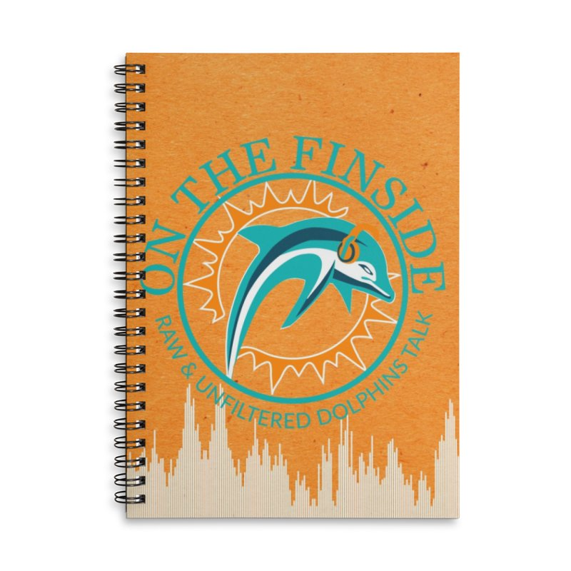 Teal Bullet, Orange Bowl Accessories Lined Spiral Notebook by On The Fin Side's Artist Shop