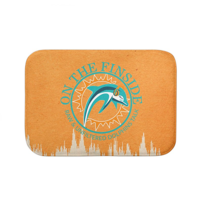Teal Bullet, Orange Bowl Home Bath Mat by OnTheFinSide's Artist Shop