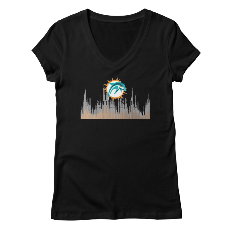 Blazing DolFan Women's V-Neck by On The Fin Side's Artist Shop