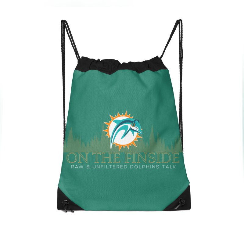 Aqua Fire Accessories Drawstring Bag Bag by On The Fin Side's Artist Shop