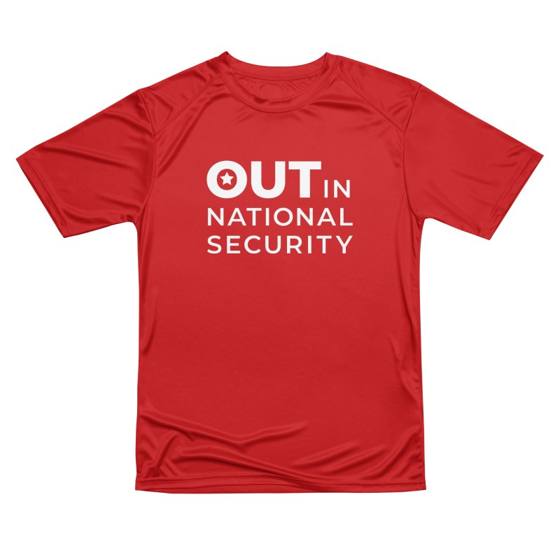 Stacked Logo -White All Genders T-Shirt by Out in National Security's Shop