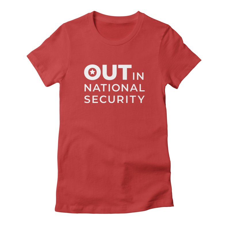 Stacked Logo -White Feminine T-Shirt by Out in National Security's Shop