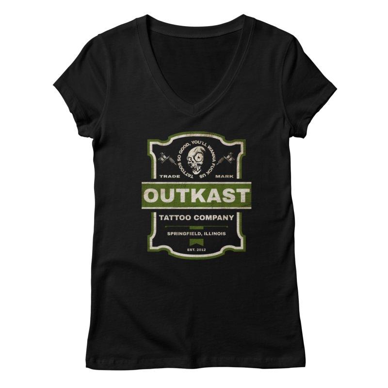 OUTKAST BLACK LABEL TATTOOS Women's V-Neck by OutkastTattooCompany's Artist Shop