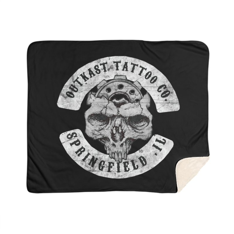 old school skull logo Home Blanket by OutkastTattooCompany's Artist Shop