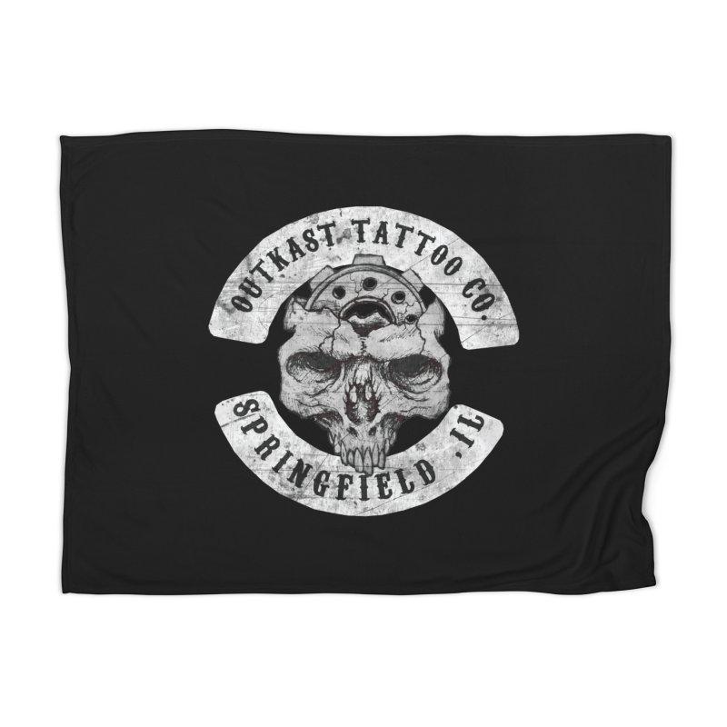 old school skull logo Home Blanket by OutkastTattooCompany's Artist Shop