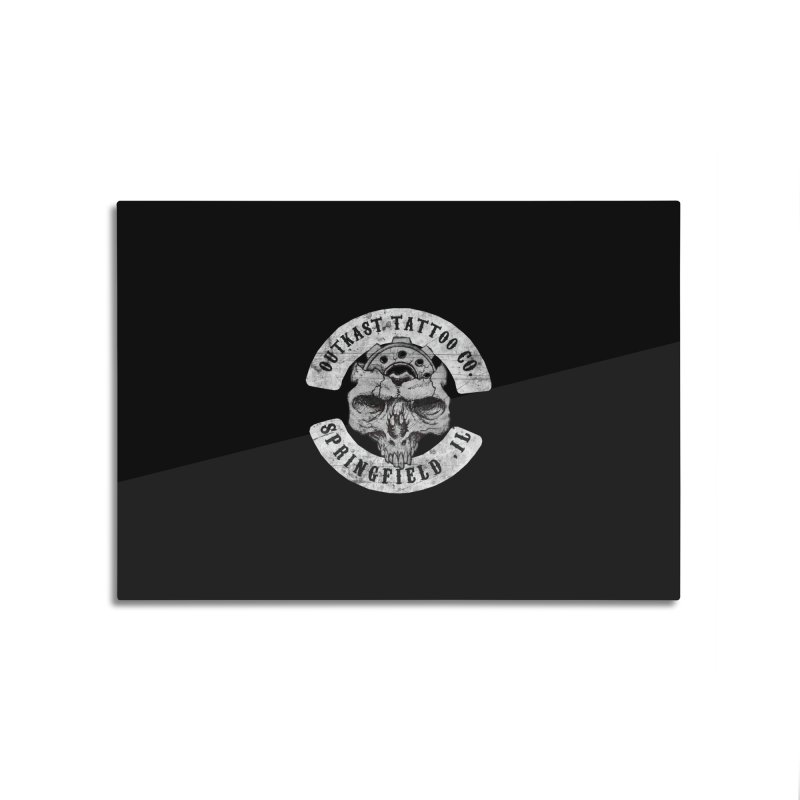 old school skull logo Home Mounted Aluminum Print by OutkastTattooCompany's Artist Shop